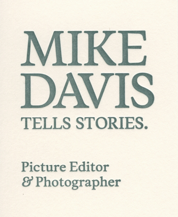 Mike Davis Letterpress business card detail